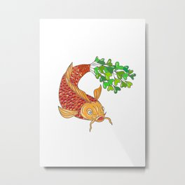 Koi Nishikigoi Carp Fish Microgreen Tail Drawing Metal Print