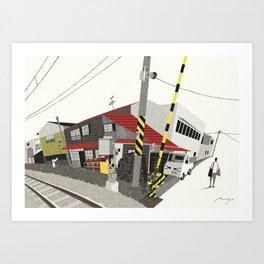 Houses Beside Tracks, Nagano Art Print
