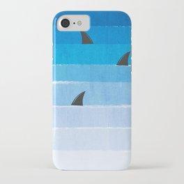 Sharks - shark week trendy black and white minimal kids pattern print ombre blue ocean surfing  iPhone Case