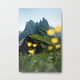 Mountain view Seceda in the Italian Dolomites Metal Print