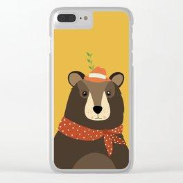 Brown Bear Print, Clear iPhone Case
