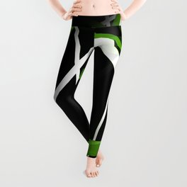 Seamless Grass Green and White Stripes on A Black Background Leggings