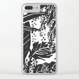 Black and white botanical garden Clear iPhone Case