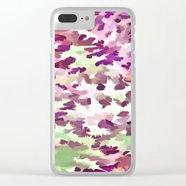 Foliage Abstract Pop Art In Ultra Violet and Fuchsia Pink Clear iPhone Case