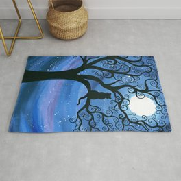 Meowing at the moon - moonlight cat painting Rug