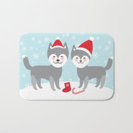 Merry Christmas New Year's card design funny gray husky dog in red hat, Kawaii face with large eyes Bath Mat