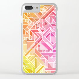 Bright Gradient (Hot Pink Orange Green Yellow Blue) Geometric Pattern Print Clear iPhone Case