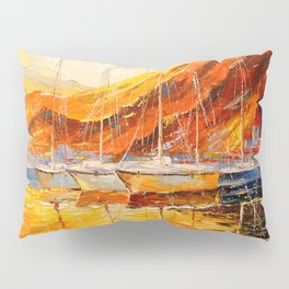 Golden sunset at the mountains Pillow Sham