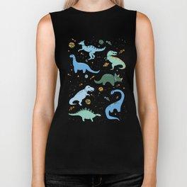 Dinosaurs in Space in Blue Biker Tank