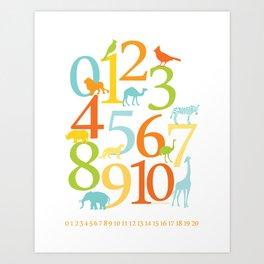 Animal Numbers -  Sandbox colorway Art Print