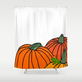 Frog Prince waiting in the Pumpkin Patch for Halloween Shower Curtain