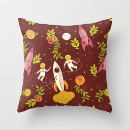 Astronauts in Space with Florals - Maroon Throw Pillow