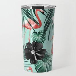 Tropical Flamingo Flower Jungle #3 #tropical #decor #art #society6 Travel Mug