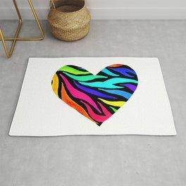 Rainbow Zebra Print Heart! Rug