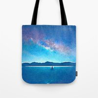 northern lights Tote Bags featuring Northern Lights by Acacia Alaska