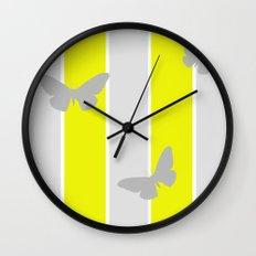 Mustard and Grey Stripes Wall Clock