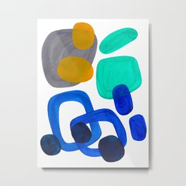 Minimalist Abstract Mid Century Modern Expressionist Organic Pattern Colorful Blue Aquamarine Teal Metal Print