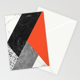 Black and White Marbles and Pantone Flame Color Stationery Cards