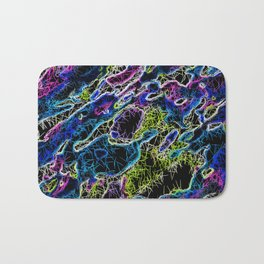 psychedelic rotten sketching texture abstract background in blue yellow pink Bath Mat