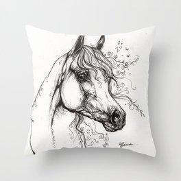arabian horse ink art Throw Pillow