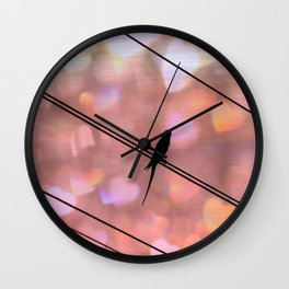Bird on Wire Art print - Dreamy photography - Girly Pink Nature Bird Art Print Wall Clock
