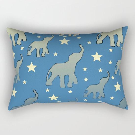 Blue Elephants Stars Pattern Rectangular Pillow