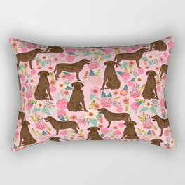 Chocolate Labrador Retriever dog floral gifts must haves chocolate lab lover Rectangular Pillow