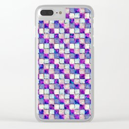 Purple Blue and Beige Patchwork Clear iPhone Case