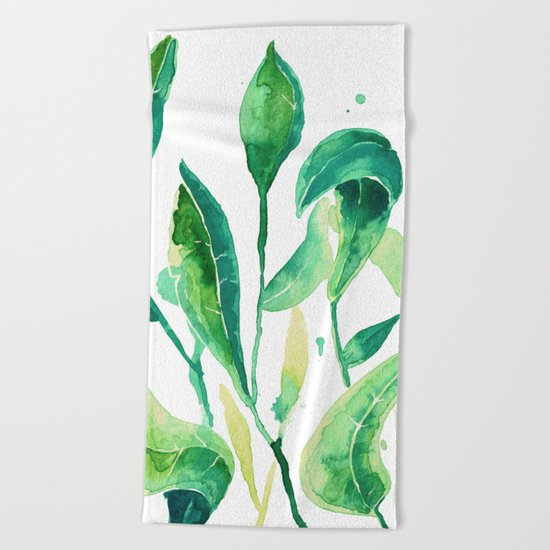 new water color leaves Beach Towel