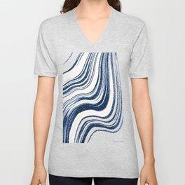 Textured Marble - Indigo Blue Unisex V-Neck