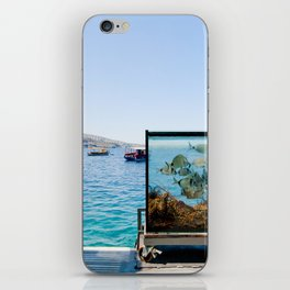 Santorini sea view on the see and aquarium iPhone Skin