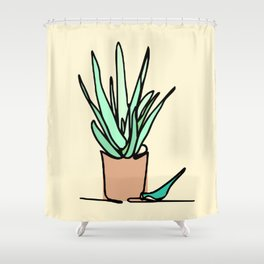 Potted Plant Drawing Shower Curtain