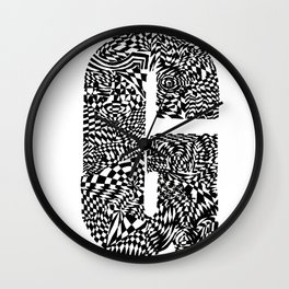 Alphabet Letter G Impact Bold Abstract Pattern (ink drawing) Wall Clock