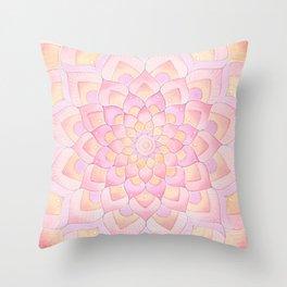 Watercolor Mandala 2 - Peachy Pink Pastel Throw Pillow