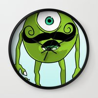 mike wrobel Wall Clocks featuring Mike by Satanoncrack