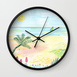 Beach Day Watercolor Wall Clock
