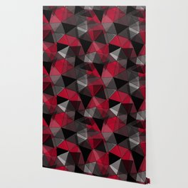 Abstract polygonal pattern.Red, black, grey triangles. Wallpaper