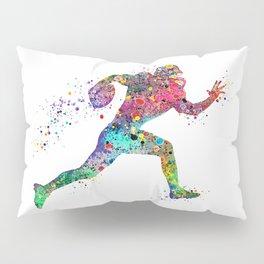 Football Player Sports Art Print Watercolor Print American Football Pillow Sham