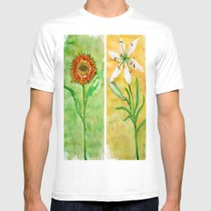 flowers 2 White MEDIUM Mens Fitted Tee