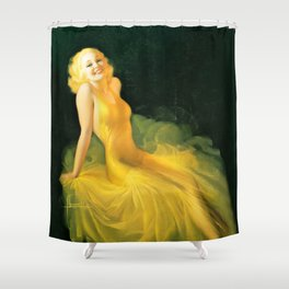 """Pinup by Rolf Armstrong """"The Yellow Gown"""" Shower Curtain"""