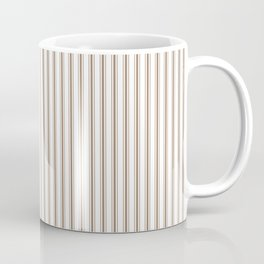 Mattress Ticking Narrow Striped Pattern in Dark Brown and White Coffee Mug