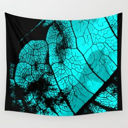 Aqua leaf Wall Tapestry