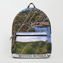 MYSTIC RIVER CONNECTICUT city old map Father Day art print Backpack