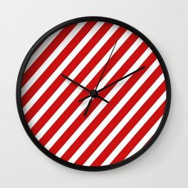 Red Diagonal Stripes Wall Clock