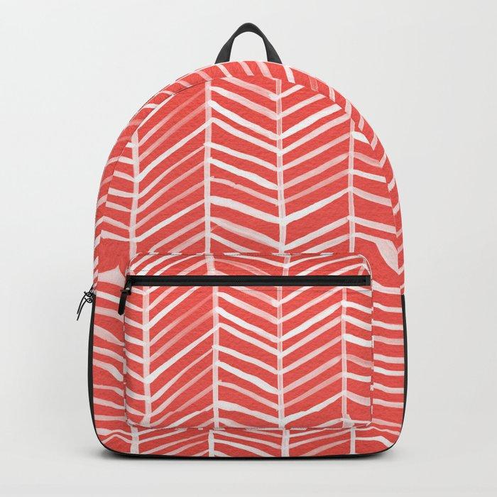 Coral Herringbone Backpack
