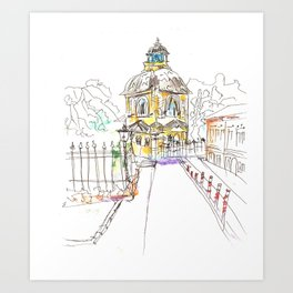urban sketch in watercolor Art Print