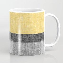 Yellow Grey and Black Section Stripe and Graphic Burlap Print Coffee Mug