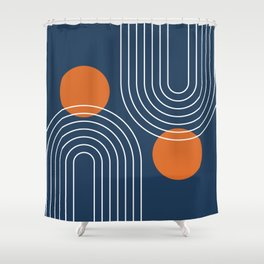 Mid Century Modern Geometric 83 in Navy Blue and Burnt Orange (Rainbow and Sun Abstraction) Shower Curtain