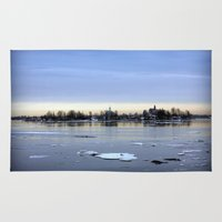 finland Area & Throw Rugs featuring helsinki (finland) - island by aune