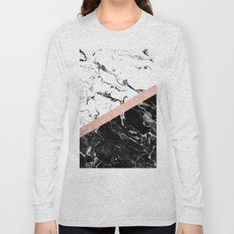 Modern black white marble color block rose gold Long Sleeve T-shirt